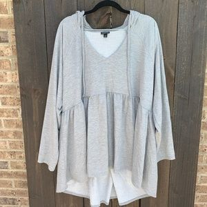 Torrid Heathered Grey Hooded Babydoll Pullover 3X